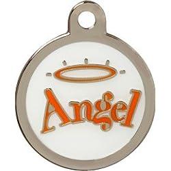 Personnalisé Médaille pour Animal domestique en forme d'Ange (Moyen) | SERVICE DE GRAVURE | Médaille pour Chien et Chat Personnalisée avec Design Coloré