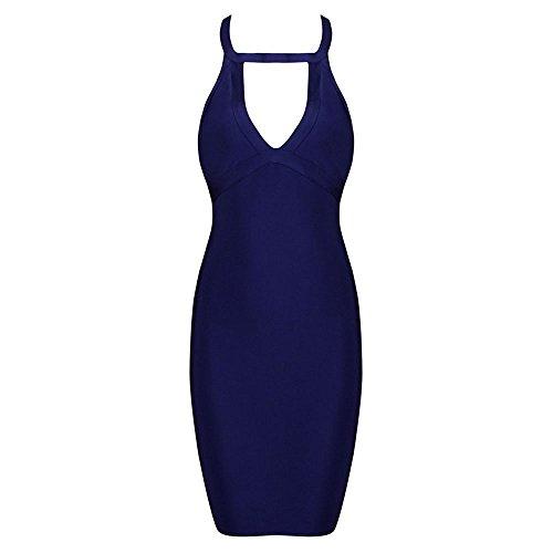 HLBandage Women Halter Neck Keyhole Backless Rayon Bandage Dress Blu reale