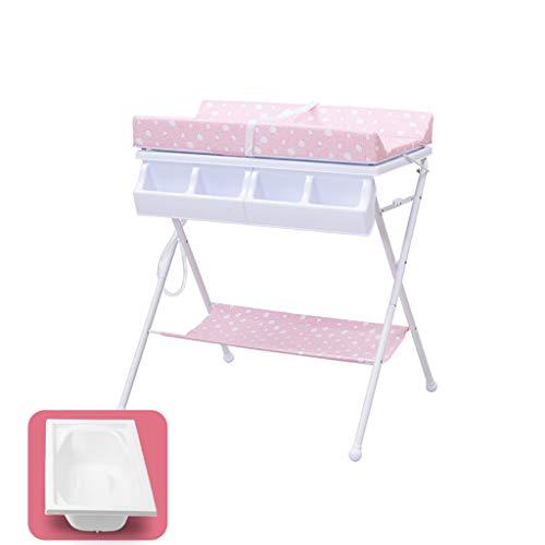 Tables à langer avec Matelas Et Baignoire Imperméables en PE, Pliable À 2 Niveaux pour Garçons Et Filles (Couleur : Pink)