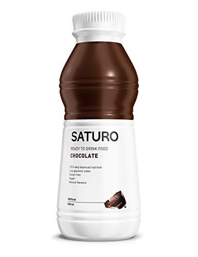 Mahlzeitersatz Shake SATURO, Astronautenkost mit Protein, Allen 27 Vitaminen und Mineralstoffen, Nahrungsersatz zum Abnehmen, Schokolade, 12 x 500 ml