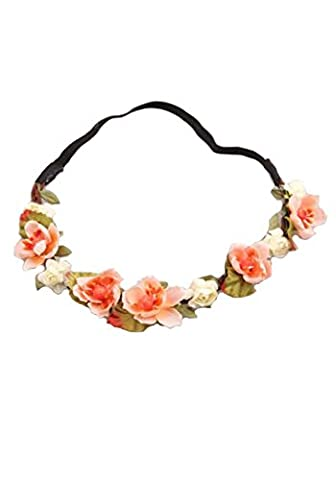 WTB 1pc Women's Girls Flower Fairy Bohemian Braid Wedding Beach Tiara Crown hair headband (Orange Big Style)