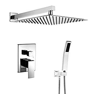 Artbath 12 inch Chrome Shower Set Wall Mount with Stainless Steel Rain Showerhead, Brass Handheld Shower, Roungh in Shower Faucet Valve Body and Trim Complete Rainfall Shower System for Bathroom