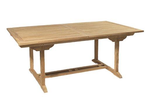 MACABANE 500980 Table rectangulaire Extensible Couleur Brut en Teck Dimension 180/240cm X 100cm X 75cm