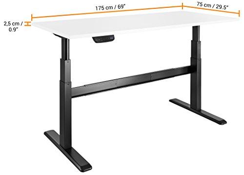 celexon Tischplatte 175 x 75 cm in weiß, passend zu eAdjust-65120, Melaminharz beschichtet