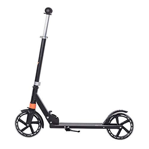 Clamaro 'Sidekick' 205mm Cityroller Tretroller gefedert, bis 100 kg belastbar, zusammenklappbar, höhenverstellbar, Scooter Kickroller mit Reibungsbremse, für Kinder und Erwachsene, Schwarz