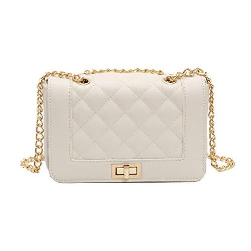 Lianaizog Damenhandtasche Leder Gesteppte Tasche Damen Messenger Schultertasche Weiß Gelb Weiß - Weiße Gesteppte