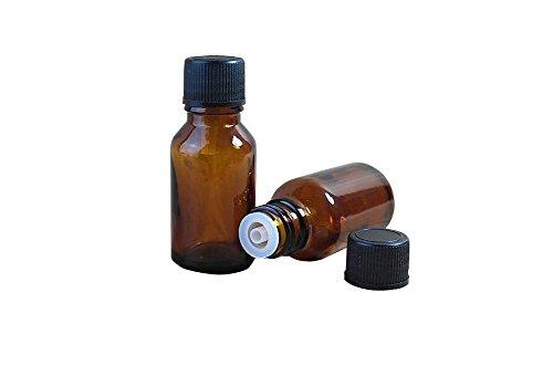 6PCS ätherisches Öl Glas innen Travel Flaschen mit Plug und schwarz cap-empty Gläser Kosmetik makeupwater Emulsion Elite Fluid Vorratsdosen (braun)(20ml) (Kleine Probe-fläschchen)