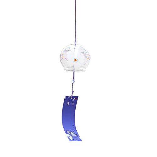 FENGKK Magideal Japanischen Stil Glas Windspiele Hängen Handwerk Wind Bell Home Decor Sakura Kirschblüte Muster -