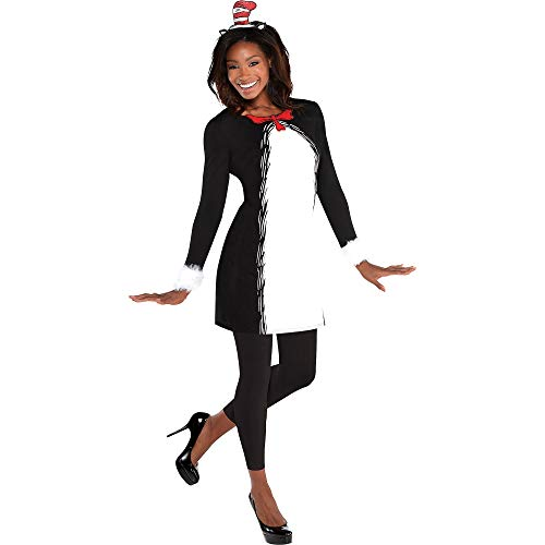 ss Katze in der Hut Langarm Kleid für Damen, Standard, Schwarz & Weiß ()