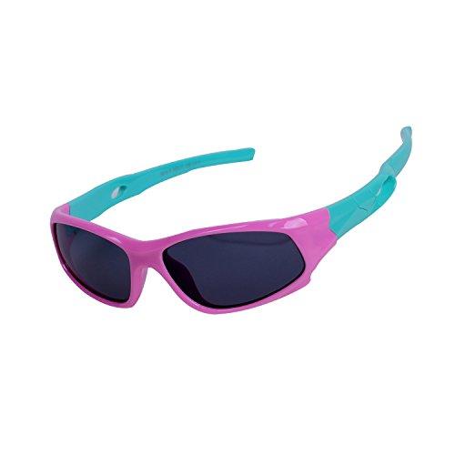 Qixuan Kinder Sonnenbrille TR90 Polarisierte Sportbrille für Jungen und Mädchen Alter 3-12, Rahmen Flexiblem Gumm,100% UV-Schutz, mit Etui