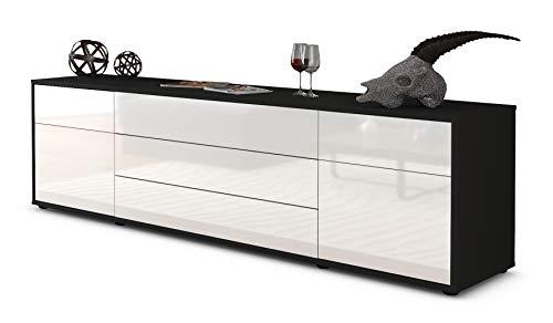Stil.Zeit TV Schrank Lowboard Benita, Korpus in Anthrazit Matt/Front im Hochglanz-Design Weiß (180x49x35cm), mit Push-to-Open Technik und Hochwertigen Leichtlaufschienen, Made in Germany