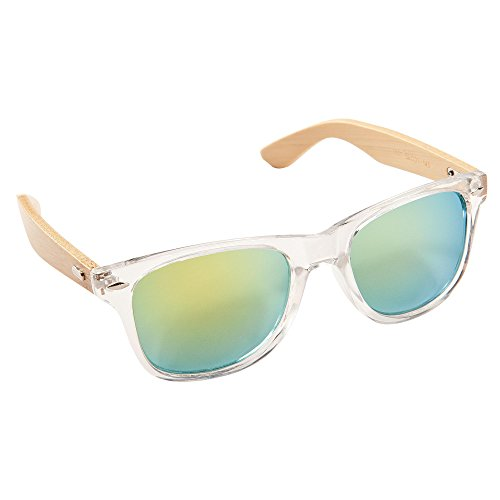ECENCE Bambus Holz Sonnenbrille Damen Herren Unisex Nerdbrille Fashion kristall grün 14010402