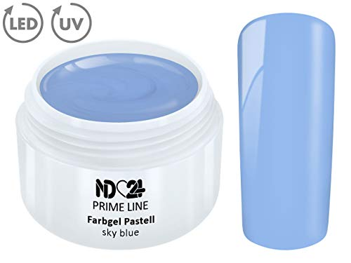 5ML - PRIME LINE - UV LED GEL Farbgel PASTELL SKY BLUE French Color Modellage Nail Art Design Blau - MADE IN GERMANY