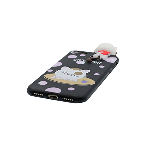 iPhone 6 Plus copertura,iPhone 6S Plus Case,Cassa molle del silicone molle della cassa dell panda del fumetto 3D per il iPhone 6 Plus / iPhone 6S Plus 5.5inch,bianca nero 1