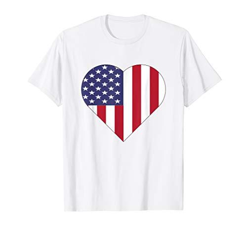 Amerikanische Flagge Herz T-Shirt Amerika Liebe 4th of July T-Shirt