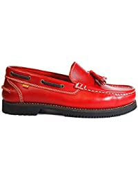Zapatos náuticos Fabricados en Piel La Valenciana Montijo Rojo