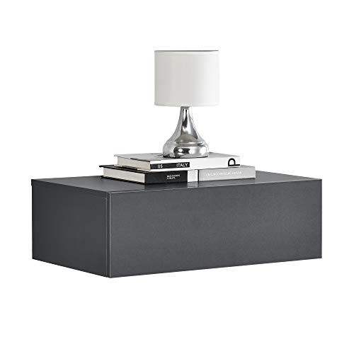 [En.Casa] Mensola Da Parete Con Cassetto - Grigio Scuro - 46X30X15Cm