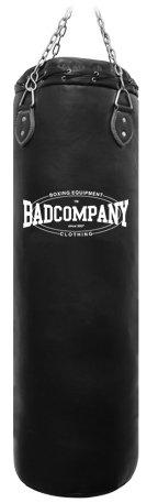 Bad Company Boxsack inkl. Heavy Duty Vierpunkt-Stahlkette I Vinyl Punching Bag, ungefüllt I 100 x 35 cm - Schwarz
