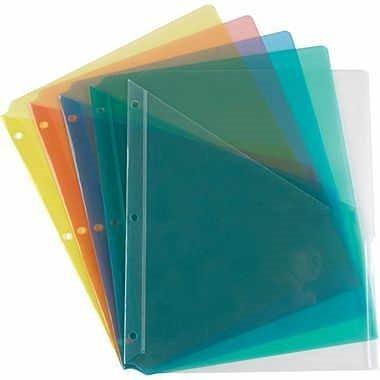1intheoffice Trennwand Taschen, 3-Loch gelocht, verschiedene Farben, 5, Set, (Trennwände Für 3-ring Binder)