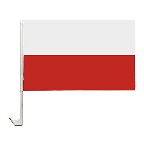 1 x Autofahne Autoflagge 45 x 30 Polen Auto Fahne Fahnen Flagge Flaggen EM 2016 mit Halterung