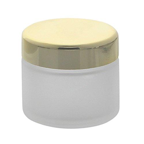 Matter Glas-Tiegel 100ml mit goldenem Deckel Kosmetex Kosmetik-Dose, Salbentiegel, Cremedose, 1x Deckel-Gold