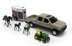 Pick-up JOHN DEERE et tracteur tondeuse + Van avec Cheval et poulains