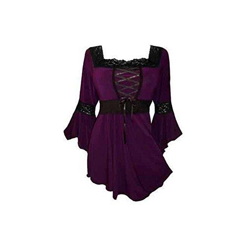 lancoszp Blusa Gotica de Steampunk de Las Mujeres Corse Ajustado de La Vendimia Purpura, 5XL