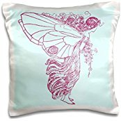 Designs Fantasy Designs - Beautiful Intricate Butterfly Wings Fairy Faerie Hodling Flowers Fantasy Design - 16x16 inch Pillow Case