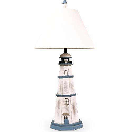 MOJO Tischleuchte Leuchtturm Shabby Chic inkl. Lampenschirm Maritim Meer Turm Urlaub Nautisch Höhe...
