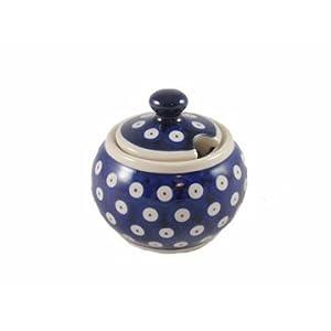 Polish Pottery Boleslawiec Sugar Bowl, Small, 0.15L in TADPOLE pattern