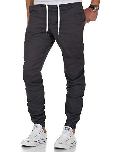 Amaci&Sons Herren Stretch Jogger Basic Chino Jeans Hose Cargo 7002 Anthrazit W38