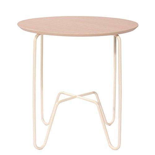 Hongsezhuozi Tische Tee Tisch Couchtisch Eisen Sofa Weiß Eiche Kleine Runde Tisch Holzplatte Einfache Beistelltisch Wohnzimmer Mini Balkon Ecktisch Freizeit Tisch -