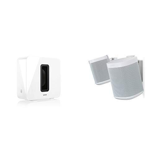 Sonos Sub, weiß - Leistungsstarker WLAN Subwoofer für dynamische & tiefe Bässe für alle Sonos Speaker & Flexson Wandhalterung für Sonos One und Sonos PLAY:1 - Paar Weiß