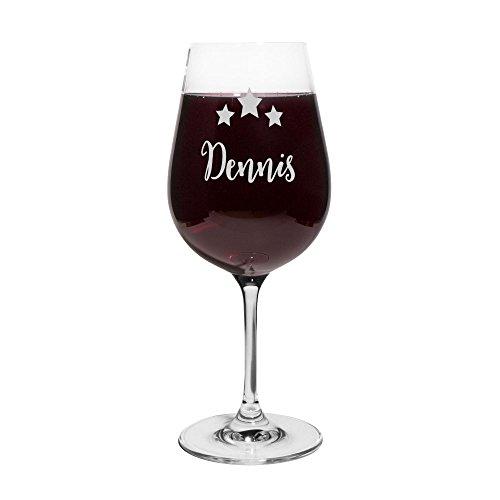 PrintPlanet Rotweinglas mit Namen Dennis graviert - Leonardo Weinglas mit Gravur - Design Sterne