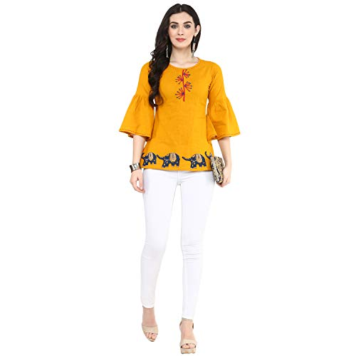 Yash Gallery Womens Cotton Patch Work Top (Yellow, M)