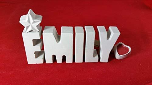 Beton, Steinguss Buchstaben 3D Deko Namen EMILY mit Stern und Herzklammer als Geschenk verpackt! Ein ausgefallenes Geschenk zur Geburt, Taufe, Geburtstag, Namenstag, Kommunion oder auch Weihnachten.