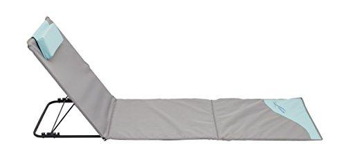 Meerweh Sonnenliege, Strandmatte XXL mit Lehne, grau, 200 x 60 cm, 74035