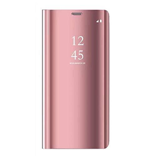 Caler Kompatibel mit/Ersatz für Hülle Huawei P30 / P30 Pro / P30 Lite Hülle Spiegel Cover Clear View Case Flip Schutzhülle handyhülle handyhuelle etui huelle Flip (Huawei P30 Lite, Rotgold)