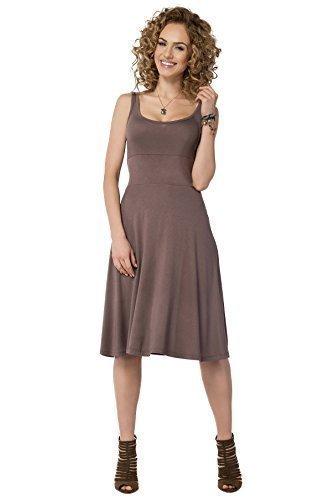 Futuro Fashion Femmes Uni Robe Patineuse Sans Manche longueur genou été Tunique Grande Taille Tailles 8-18 FM19 Cappuccino