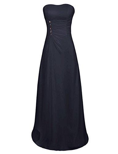 Dresstells Jugendlich Damen Abendkleid Chiffon Homecoming Kleider Sommerkleider Brautjungfer Kleider Marineblau