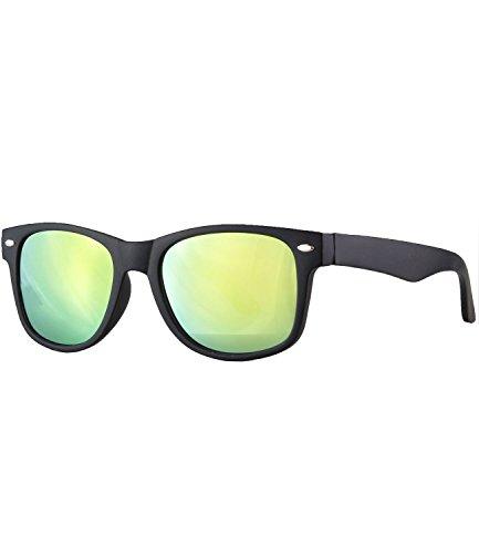 Caripe Kinder Mädchen Jungen Sonnenbrille Retro Design verspiegelt + getönt - barna (One Size, schwarz matt - neon verspiegelt-143)