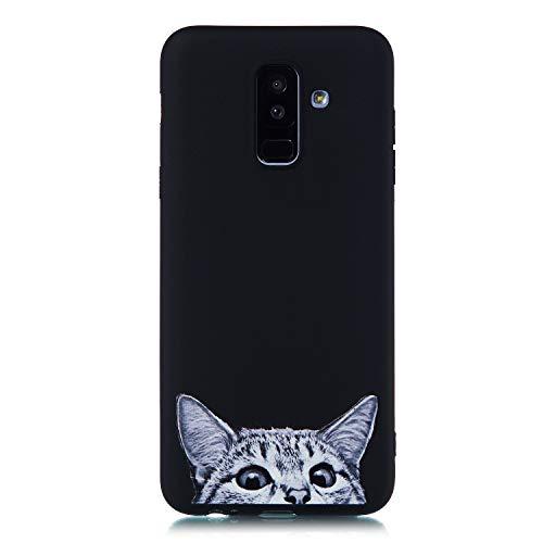 Carols Coque Samsung Galaxy A6 2018, Soft Silicone [Noir] Premium TPU Silicone Bumper Cover - Chat Curieux 01