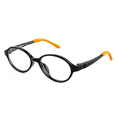Cyxus TR90 filter blaues licht brille für kinder und jugendliche [transparente linse] anti ermüdung der augen das auge des kindes schützen schwarz oval rahmen brille ohne stärke