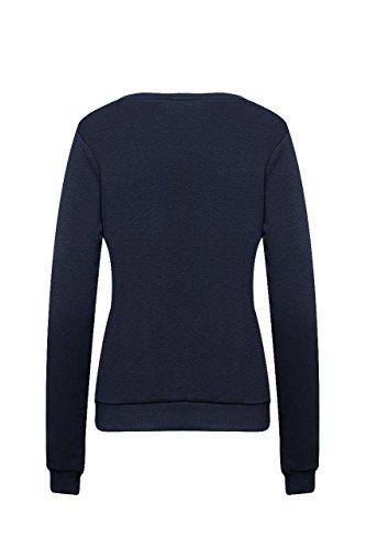 Madonna Damen Sweat Shirt Winter Sweatshirt Pullover Langarm Blau