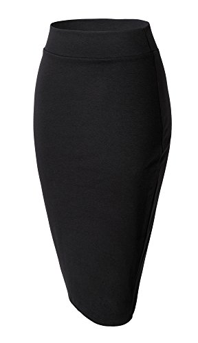 Damen Midi Rock Stretch Figurbetont Business Bleistift Röcke (M, schwarz)
