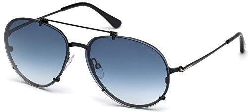 Tom Ford Unisex-Erwachsene FT0527 01W 59 Sonnenbrille, Schwarz (Nero Lucido/Blu Grad)
