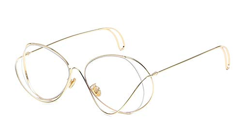 TYJMENG Sonnenbrillen Aushöhlen Doppel Felgen Vintage Herren Brillen Rahmen Frauen Marke Hohe Qualität Metall Optische Gläser Computerarbeit Uv, Gold W Klar