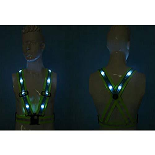 UICICI Giubbotto catarifrangente con sicurezza LED ricaricabile Sicurezza migliore Miglior cintura fluorescente Esclusivo lavoro ad alta visibilità Scherzo Bicicletta moto Guardia del traffico nott