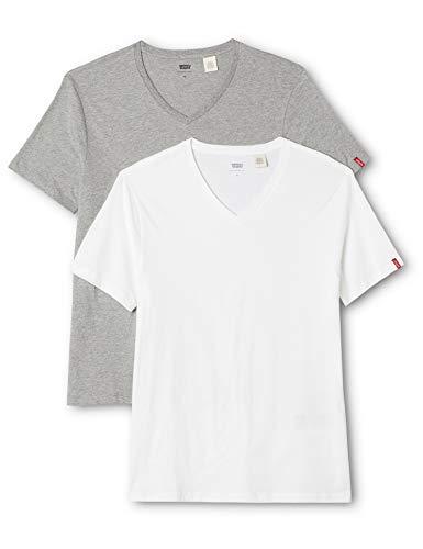Levi's Herren T-Shirt 2 er Pack V Neck Tee Slim Fit 82983, Grau (White(60)/Mid Mele (142H)), S - Fit Short Sleeve V-neck-t-shirt