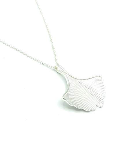 Halskette GINKGO   silber   Ginkgoblatt   ca. 58-62 cm   Kette mit Anhänger   Damen